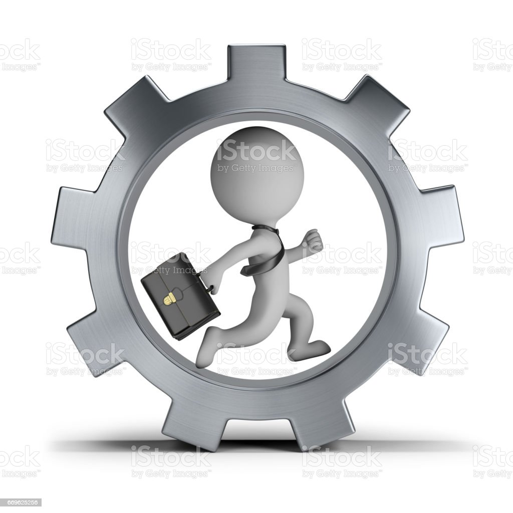 3d small people - businessman in the gear wheel stock photo