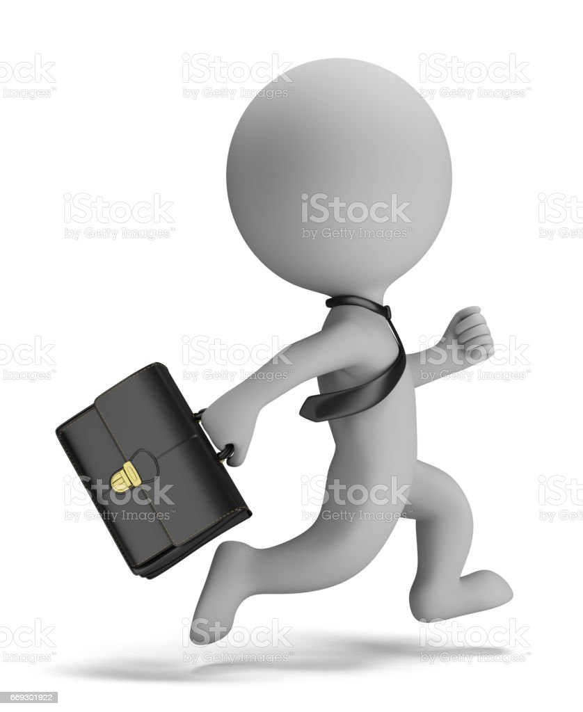 3d small people - businessman running stock photo
