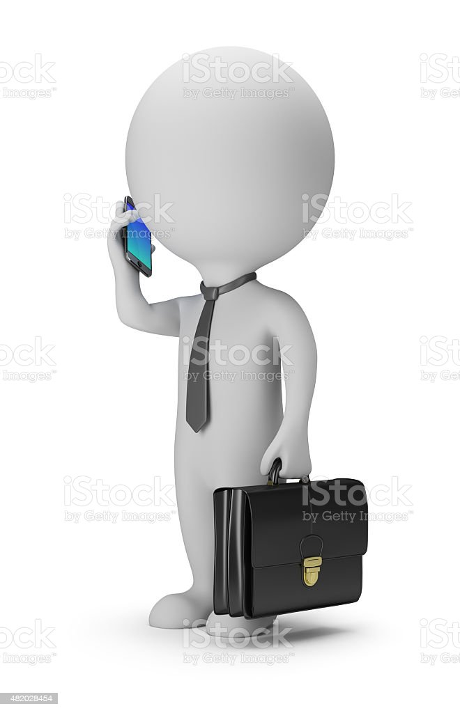 3d small people - businessman with phone stock photo