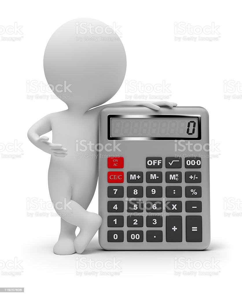 3d small people - calculator royalty-free stock photo