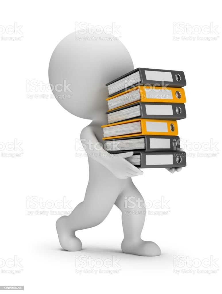 3d small people - carries a stack of folders стоковое фото