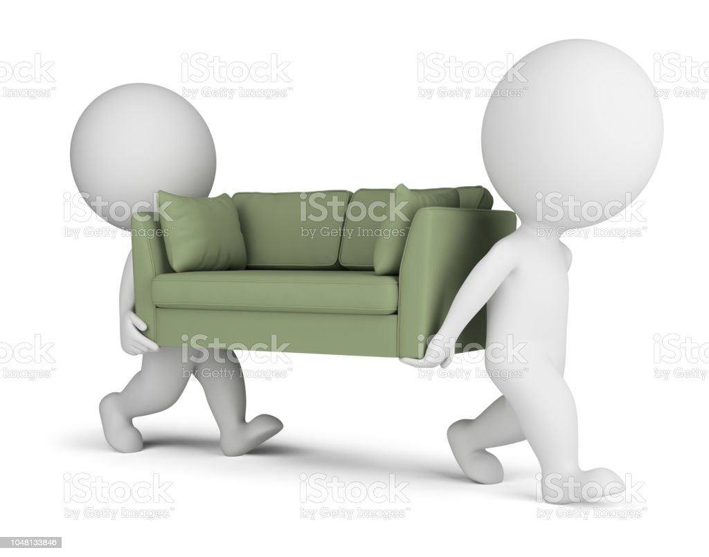 3d small people carry a sofa стоковое фото