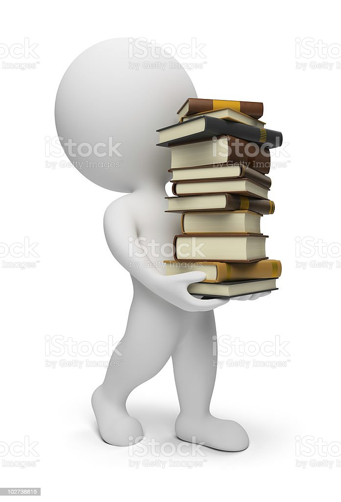 3d small people - carrying books royalty-free stock photo