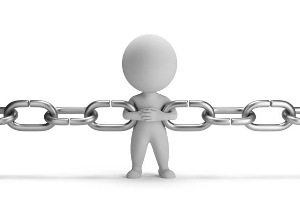 3d small people - chain link stock photo
