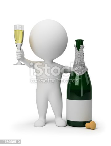 istock 3d small people - champagne 176958510