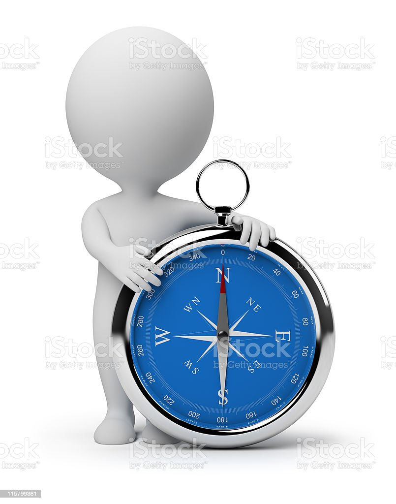 3d small people - compass 3d small person with a compass. 3d image. Isolated white background. Adult Stock Photo