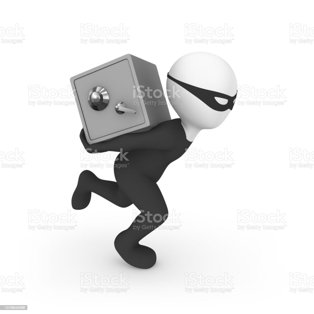 3d small people. Criminal runs with bank safe. Thief! 3d illustration. стоковое фото