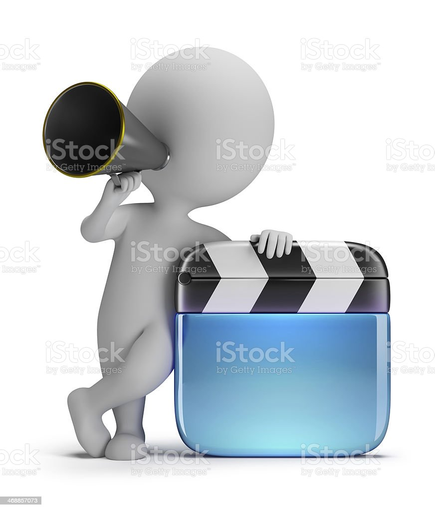 3d small people - director with a clapper stock photo