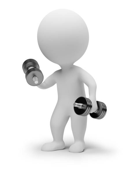 3d small people - dumbbells stock photo