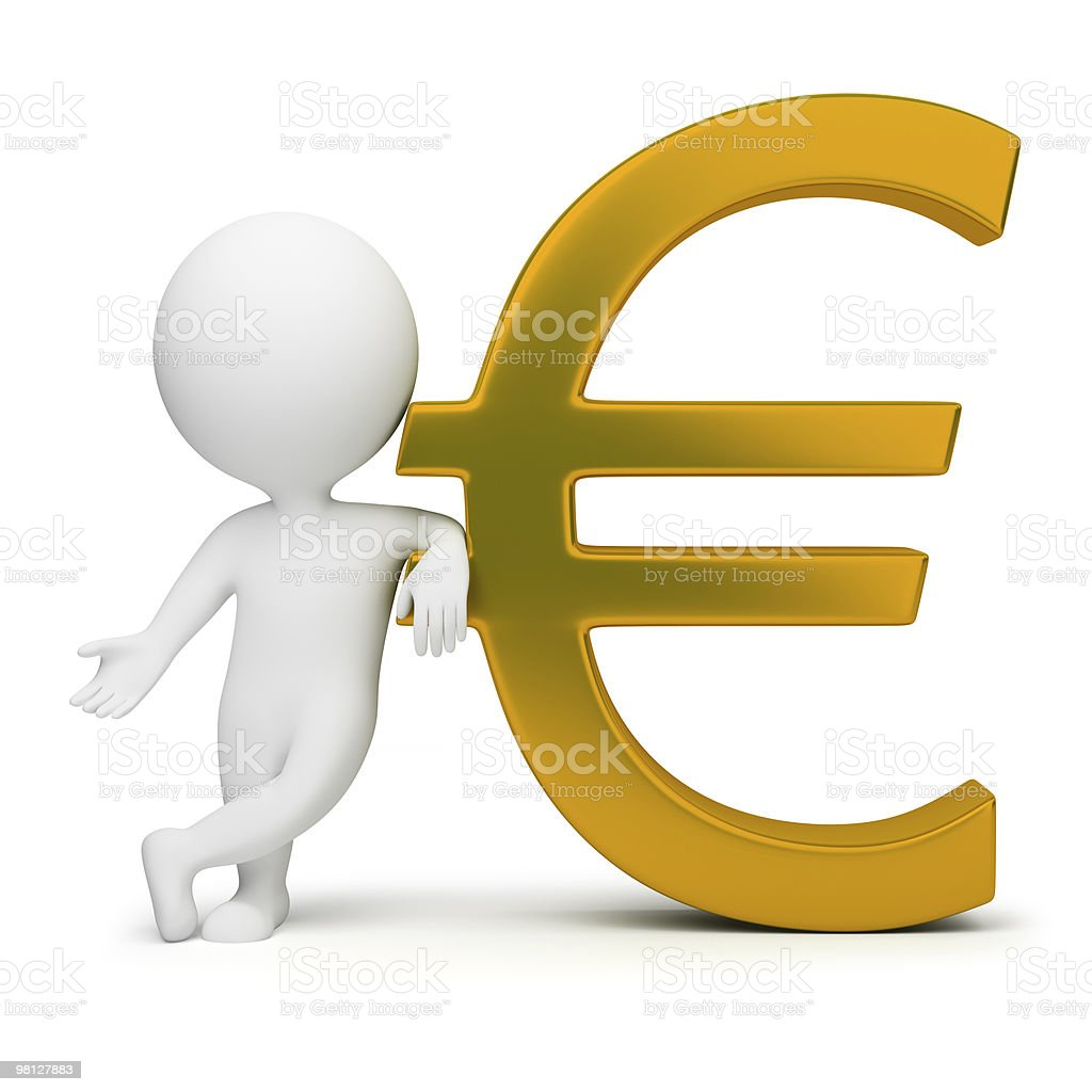 3d small people - euro sign royalty-free stock photo