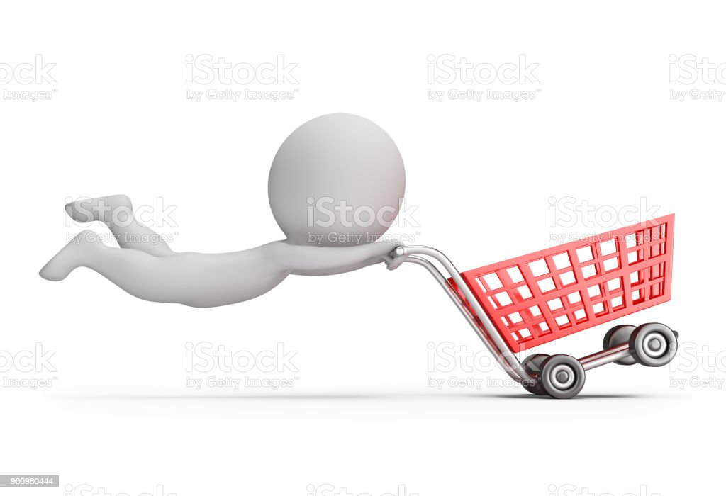 3d small people - fast shopping cart стоковое фото