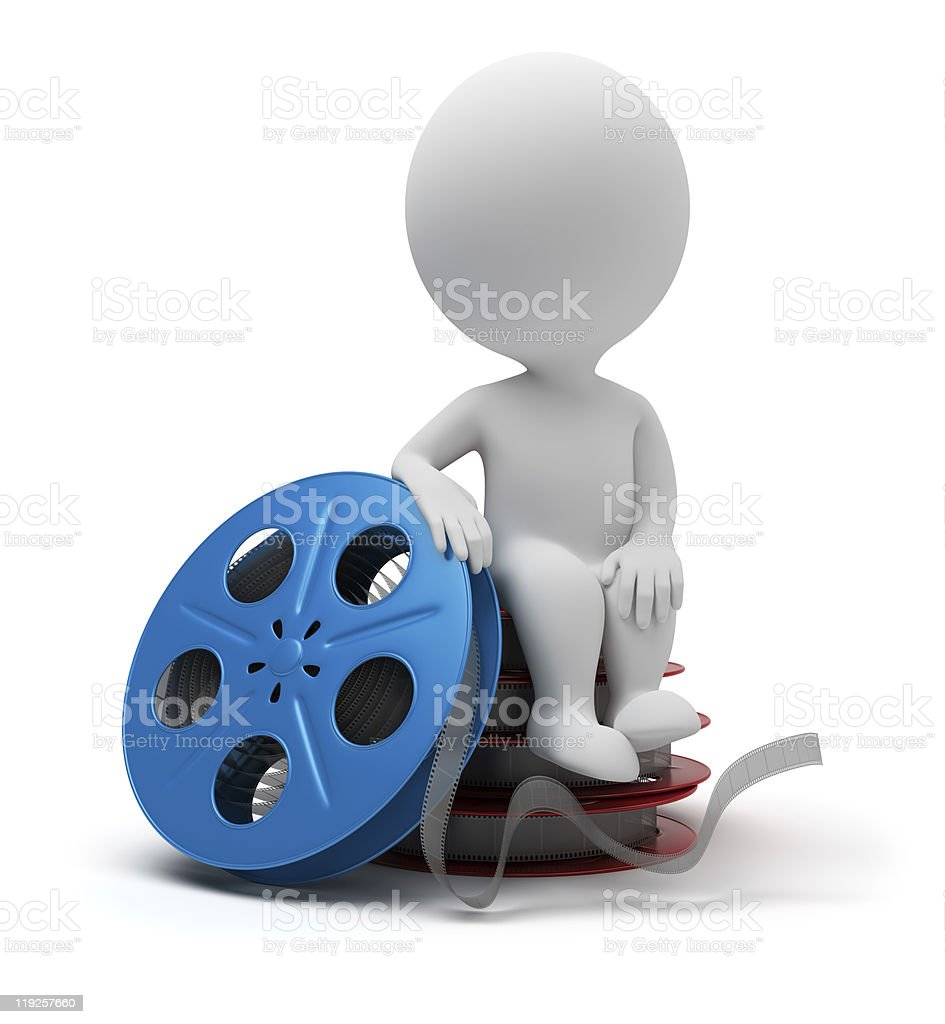 3d small people - film reel royalty-free stock photo