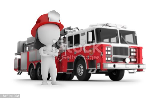 istock 3d small people - fireman and fire truck 842141298