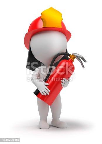 istock 3d small people - fireman 108667683