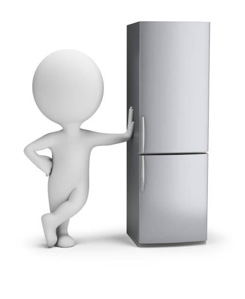 Cтоковое фото 3d small people - fridge