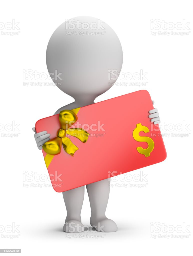 3d small people - gift card stock photo
