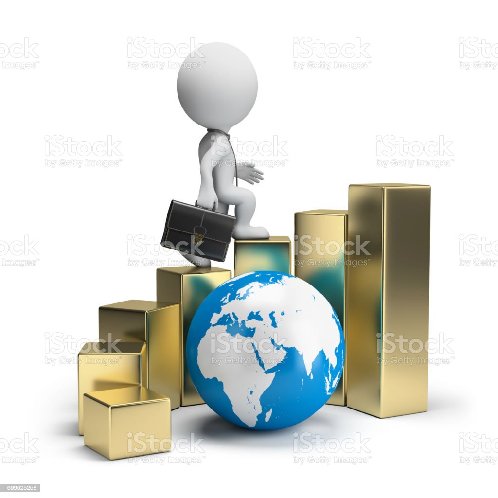 3d small people - global business growth stock photo