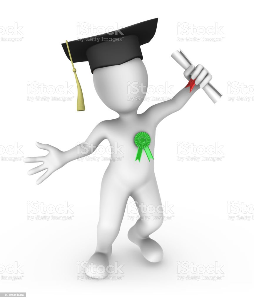 3d small people. Graduation of student. 3d rendered illustration. stock photo