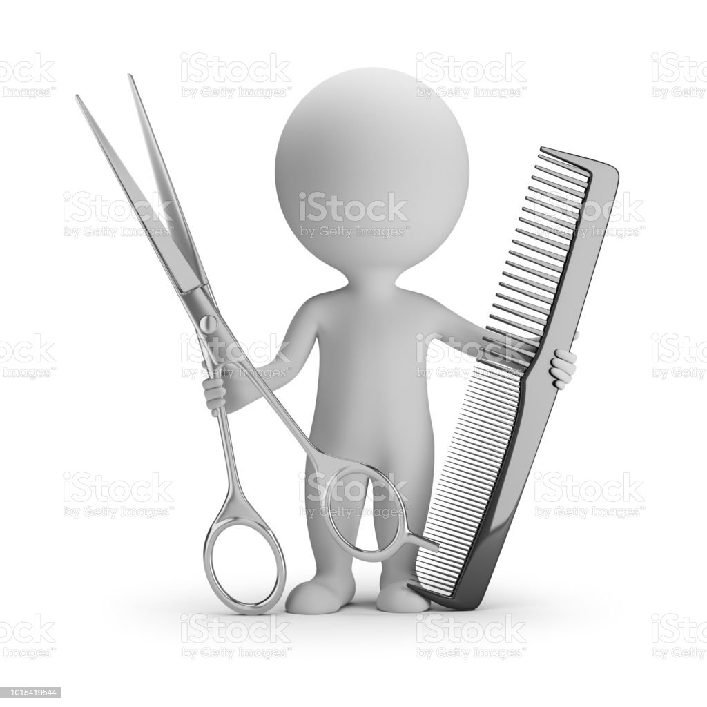 3d small people - hairdresser with scissors and comb стоковое фото