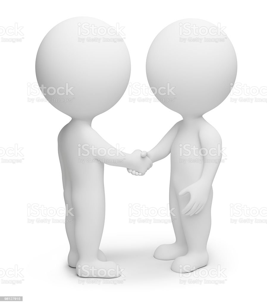 3d small people - handshake royalty-free stock photo