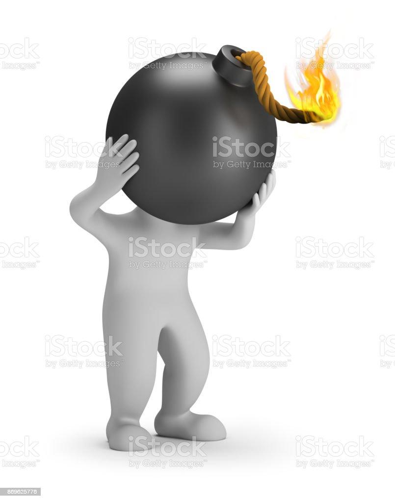3d small people - head bomb стоковое фото