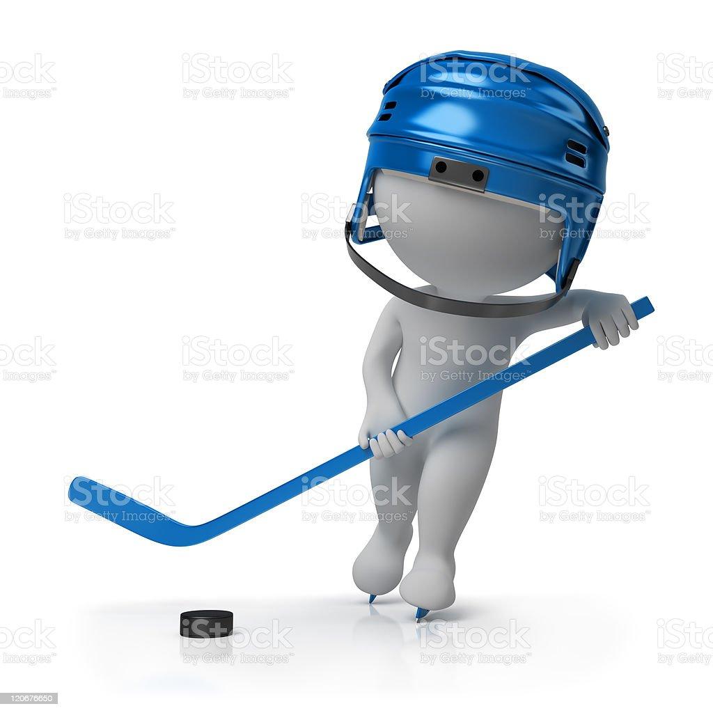 3d small people - hockey royalty-free stock photo