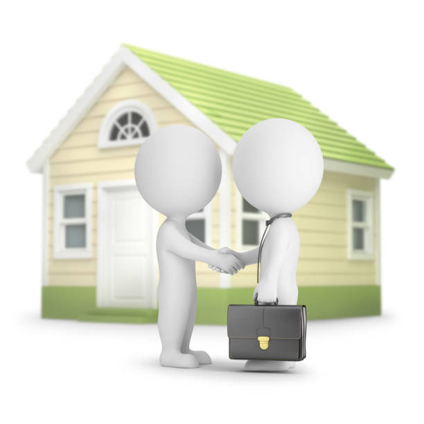 Cтоковое фото 3d small people - home purchase