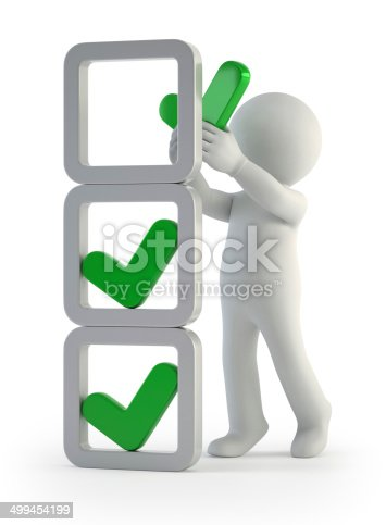 istock 3d small people - installation of check marks 499454199