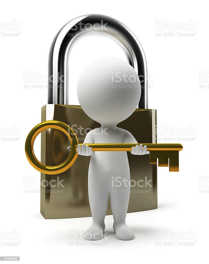 3d small people - lock and key royalty-free stock photo