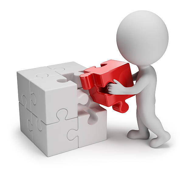 3d small people - main puzzle stock photo