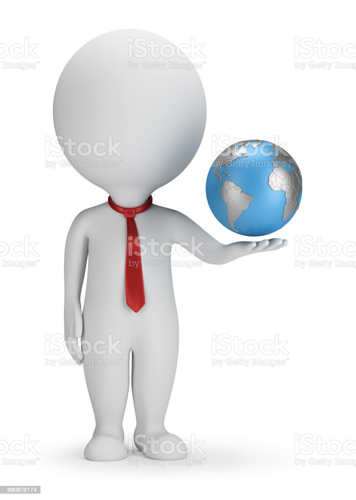 3d small people - manager and Earth стоковое фото