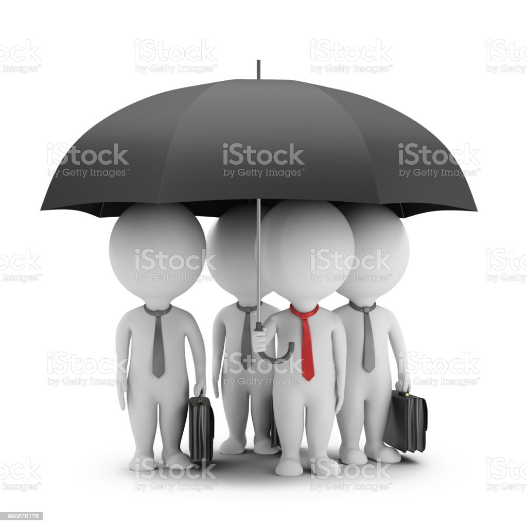 3d small people - manager with an umbrella and his team stock photo