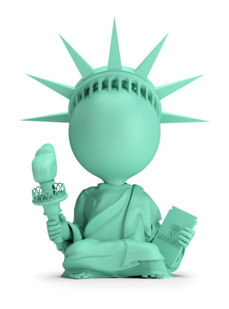 Cтоковое фото 3d small people - meditating Statue of Liberty