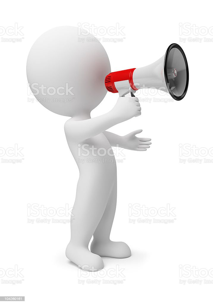 3d small people - megaphone stock photo