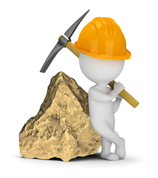 Cтоковое фото 3d small people - miner next to a big gold nugget