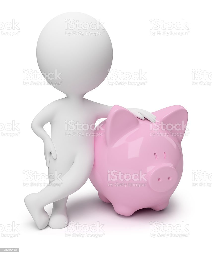 3d small people - money box royalty-free stock photo