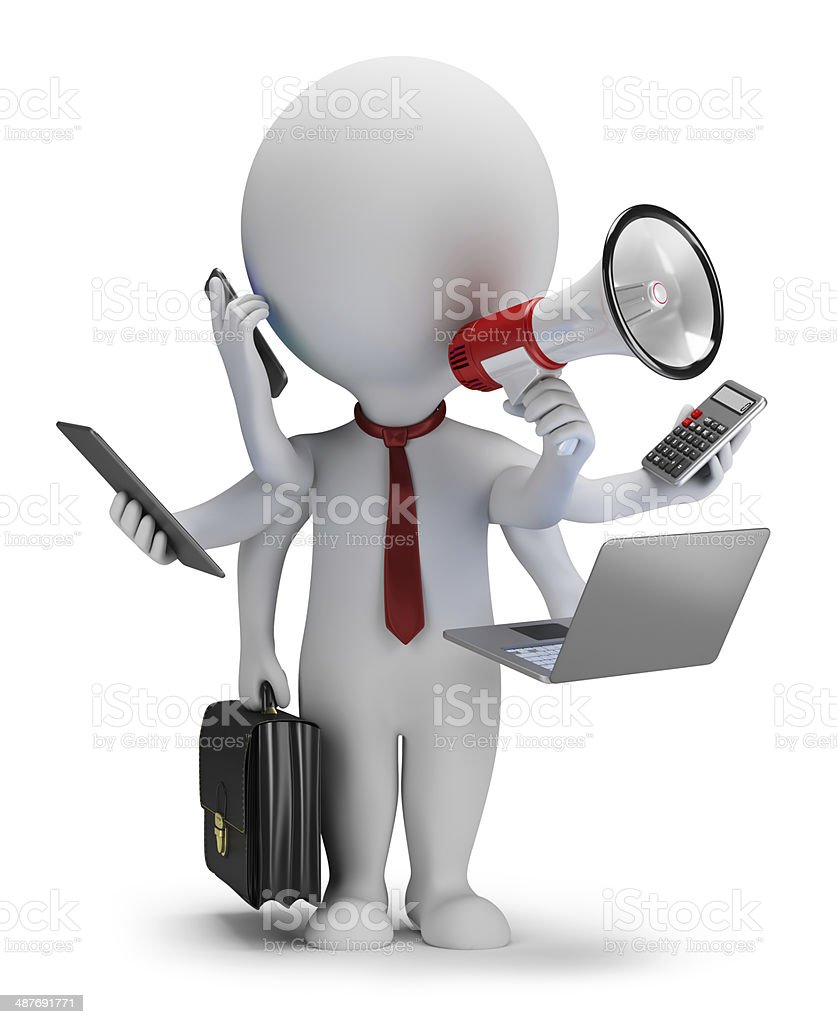 3d small people - multi manager stock photo