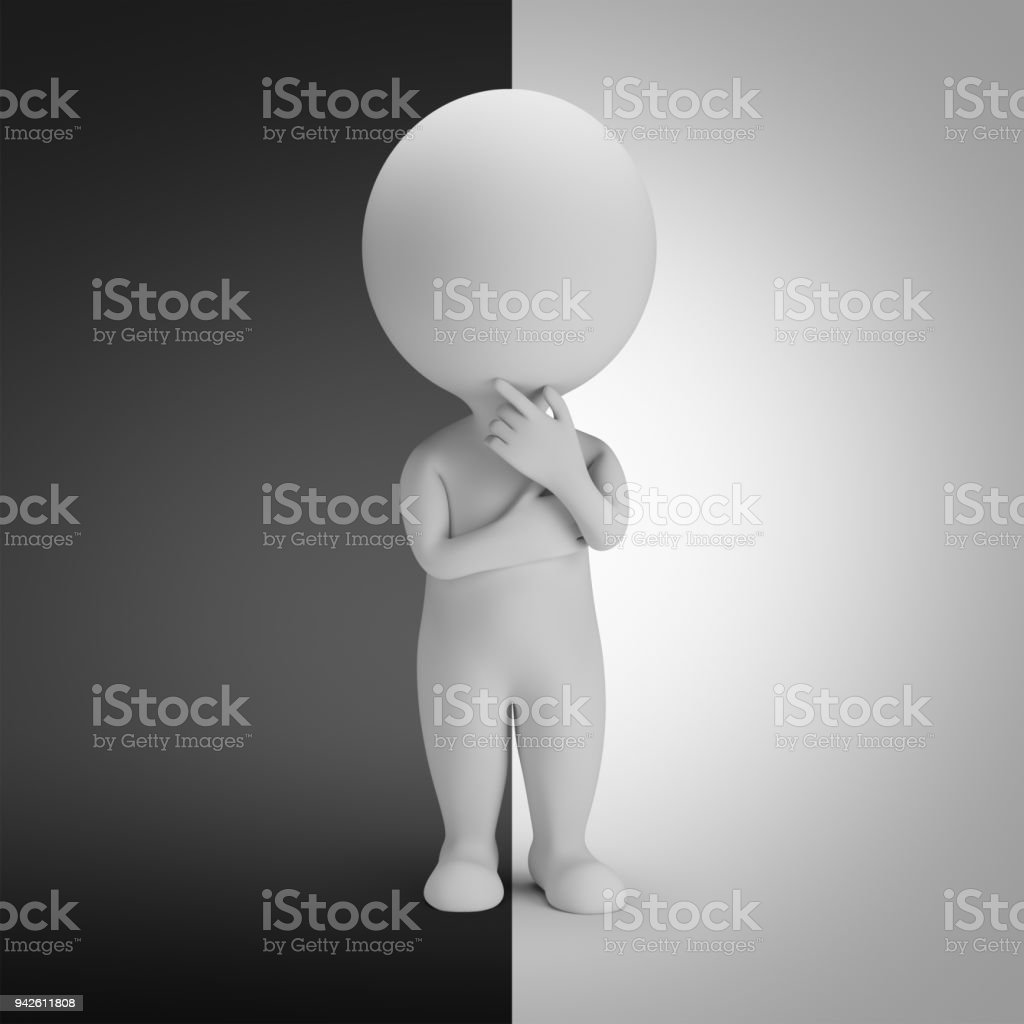 3d small people - positive or negative стоковое фото