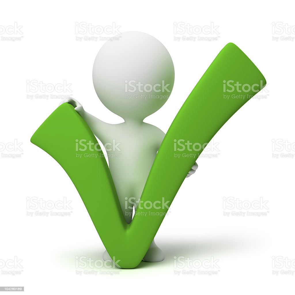 3d small people - positive symbol royalty-free stock photo