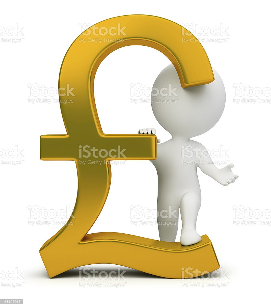 3d small people - pound sign royalty-free stock photo