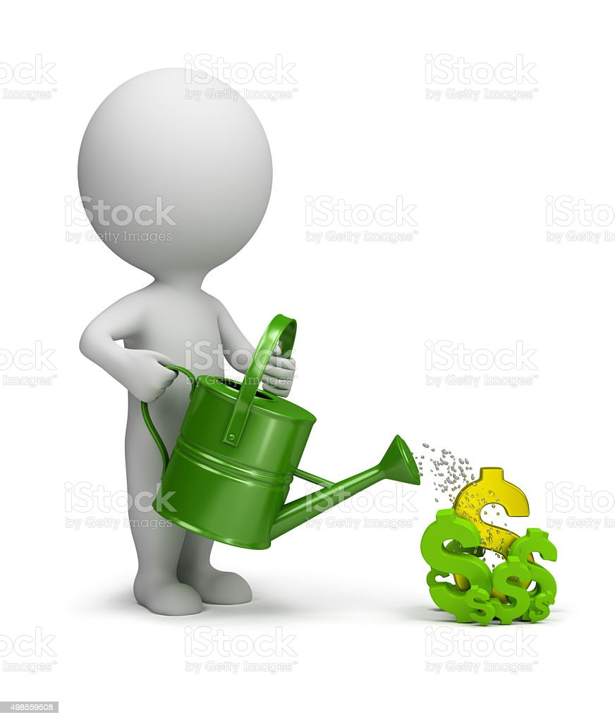 3d small people - pours dollars stock photo