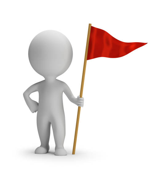 3d small people - red flag stock photo