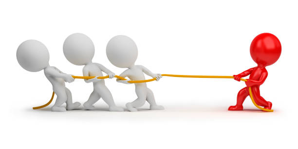 3d small people - rope pulling stock photo