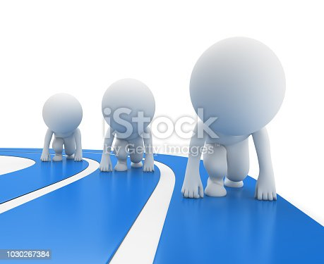 istock 3d small people - runners at the start 1030267384
