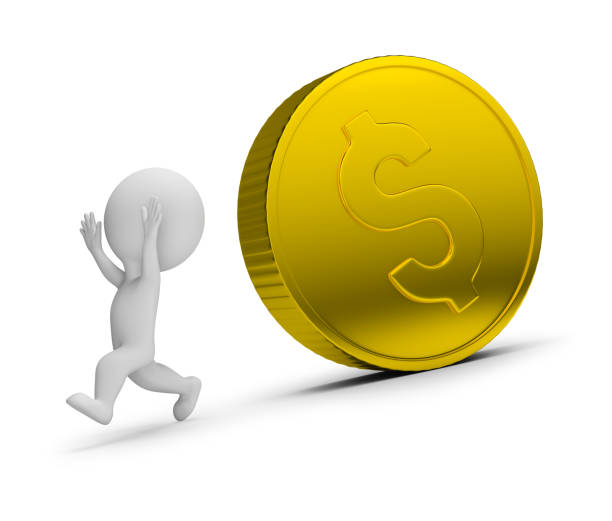 Cтоковое фото 3d small people - runs away from the rolling coin
