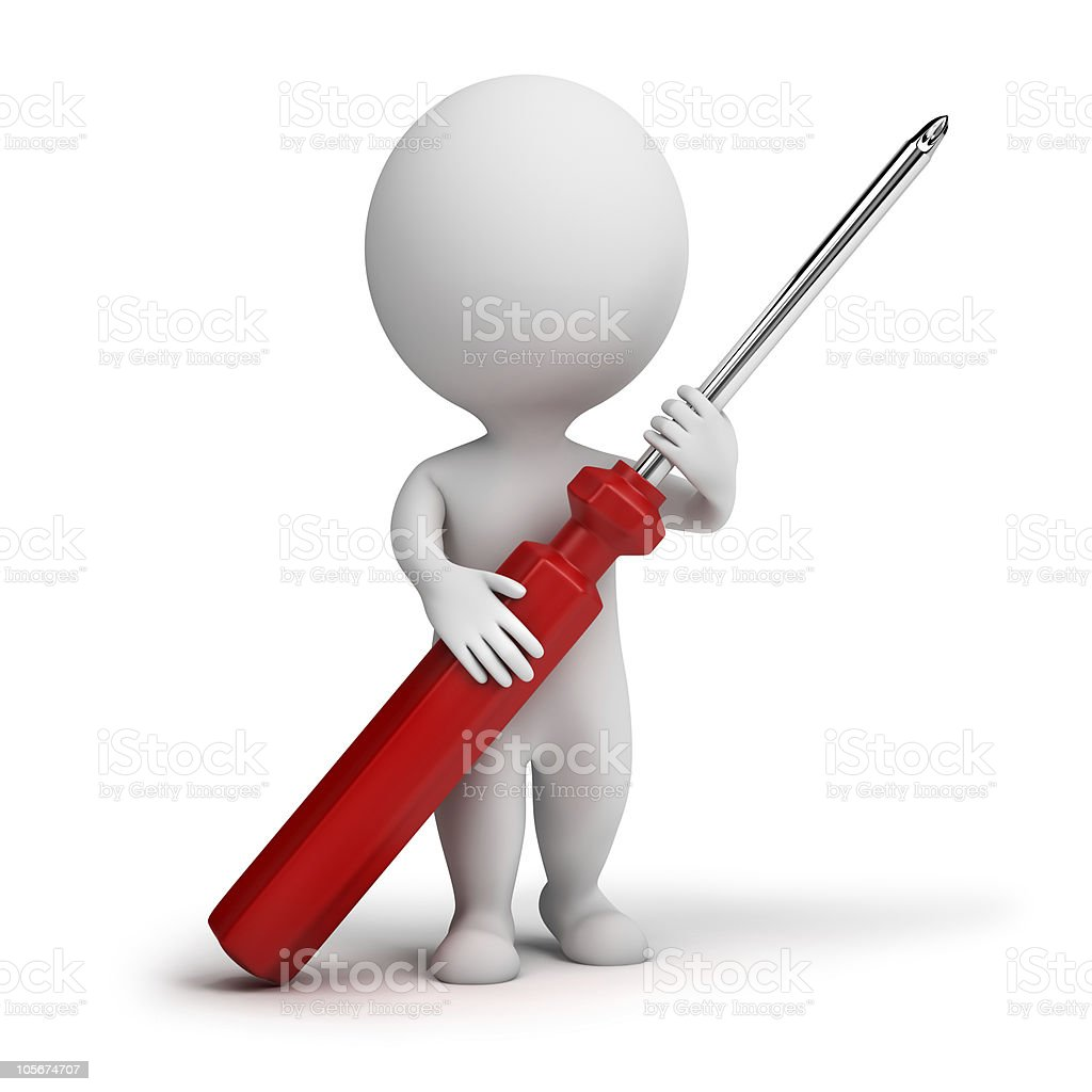 3d small people - screw-driver royalty-free stock photo