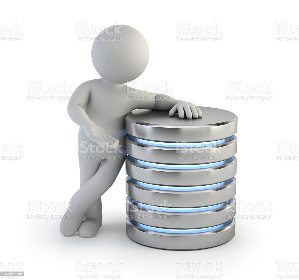3d small people - server stock photo