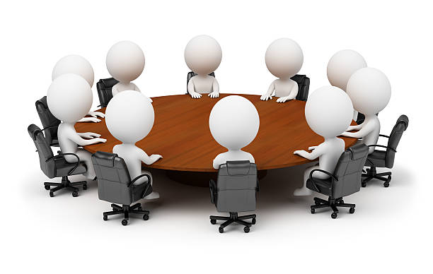 3d small people - session behind a round table stock photo