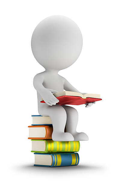 3d small people sitting on the books stock photo