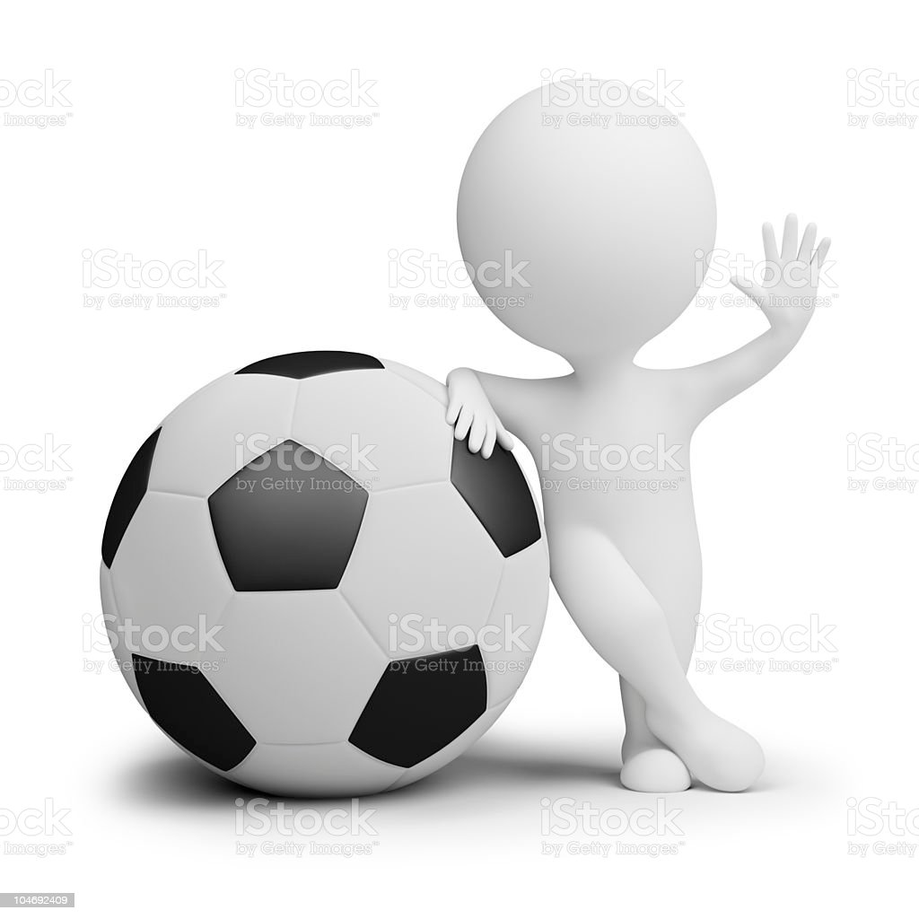 3d small people - soccer player with the big ball royalty-free stock photo